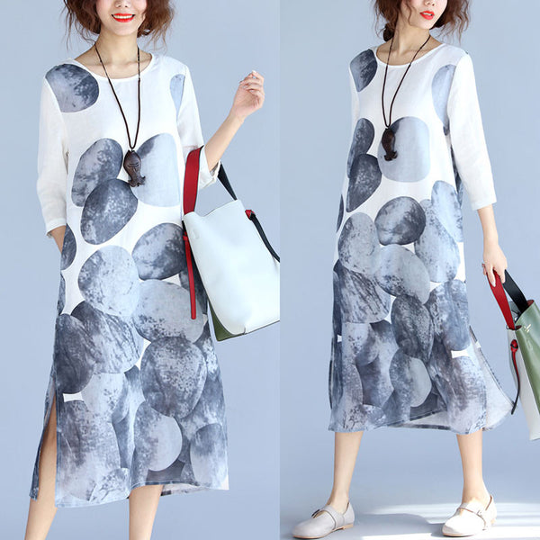 Linen Printing Pocket Women Dress