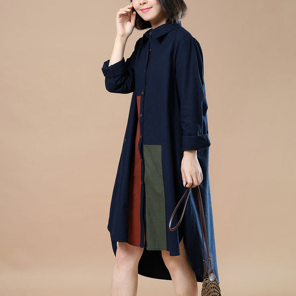 Casual Loose Splicing Large Size Navy Blue Long Shirt - Buykud