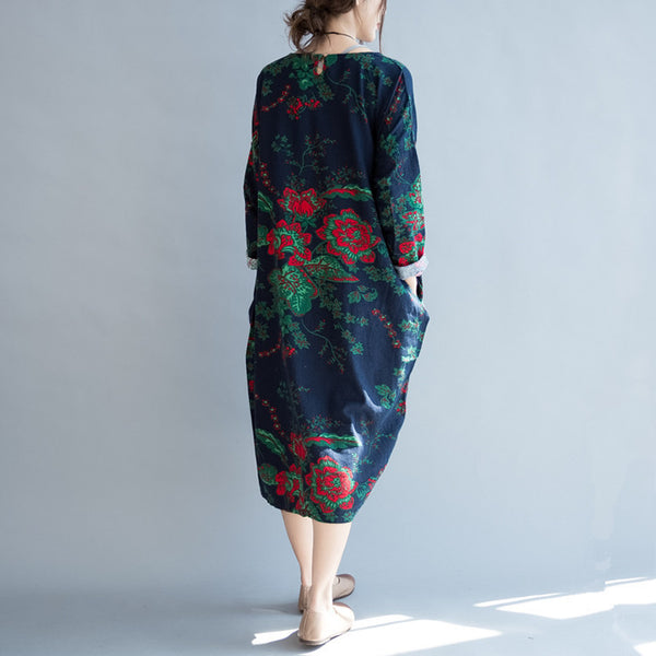 Women Print Cotton Linen 3/4 Sleeve Dress