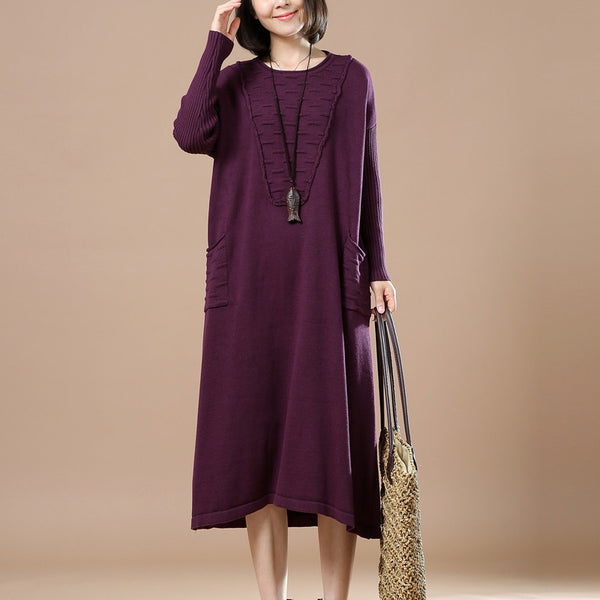 Purple Round Neck Long Sleeve Knitted Sweater - Buykud