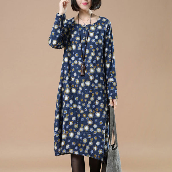 Linen Retro Round Neck Printing Blue Dress