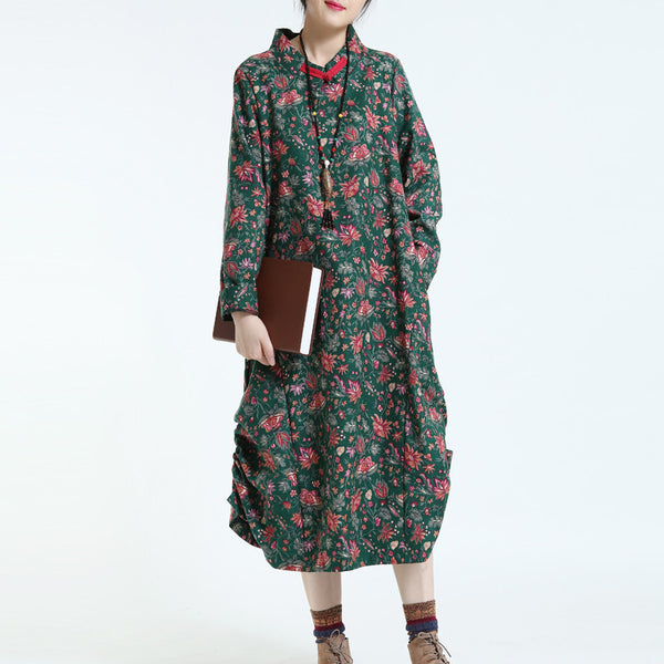 Green Women Print Cotton Linen Loose Long Sleeve Dress