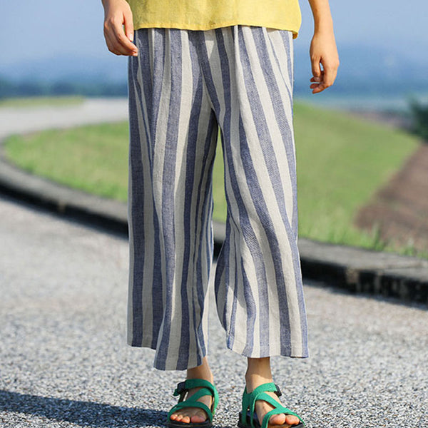 Casual Vertical Blue And White Stripe Women Loose Pants