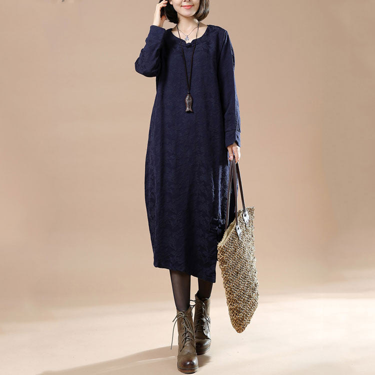 Casual Plate Buttons Navy Blue Dress
