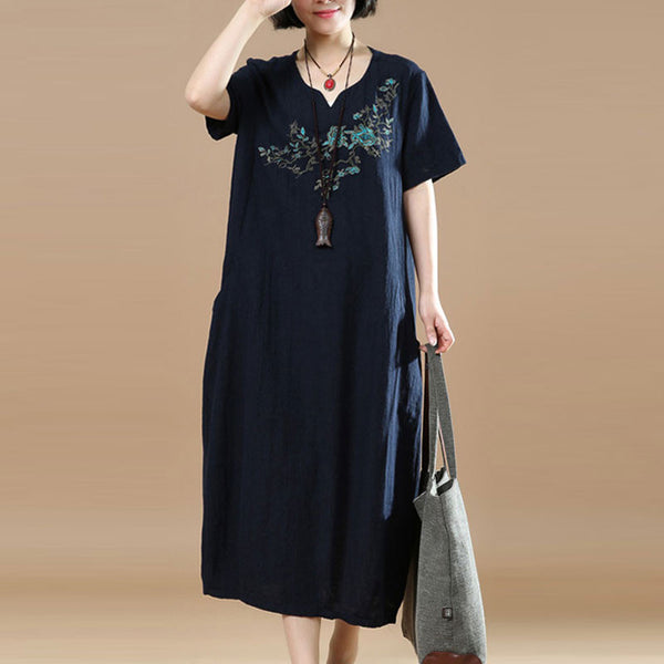 Embroidered Short Sleeve Women Summer Dress - Buykud