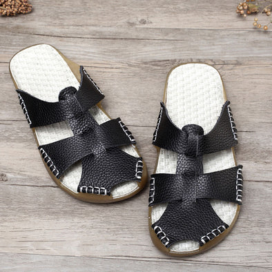 Summer Portable Leather Women Casual Black Sandals - Buykud