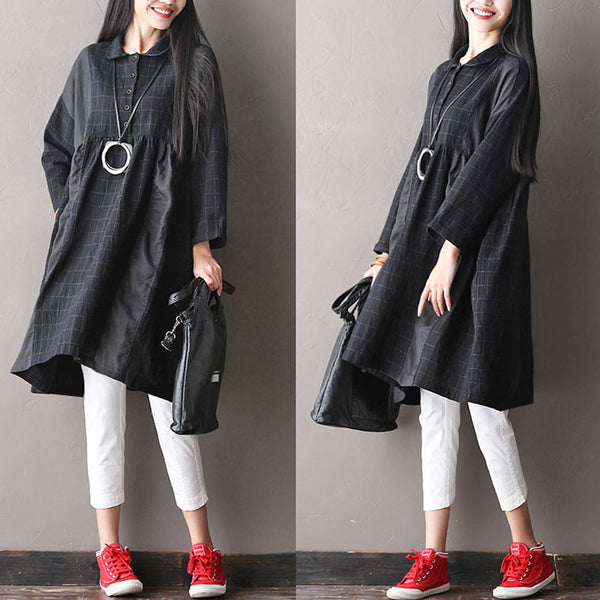 Women Casual Lattice Linen Dress