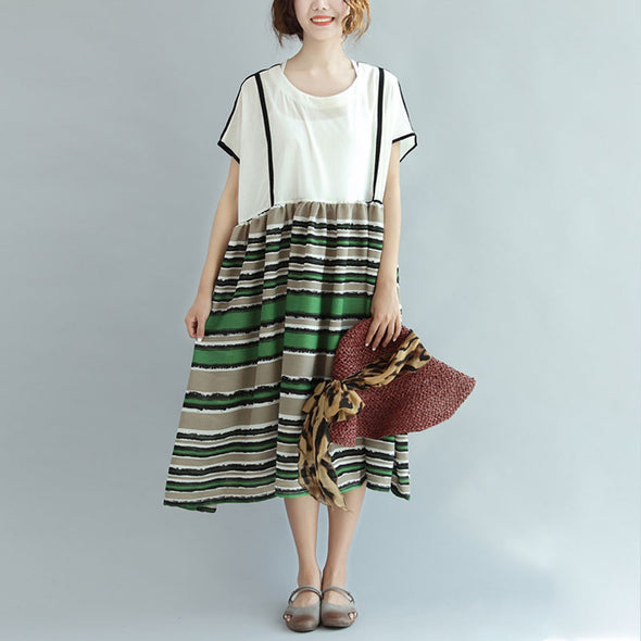 Chic Striped Splicing Women Summer Dress - Buykud