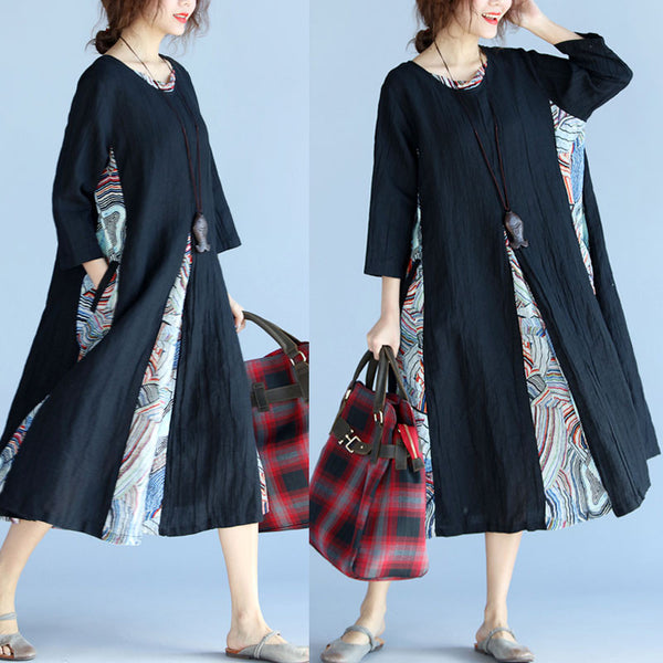 Women Casual Loose Cotton Linen Long Dress