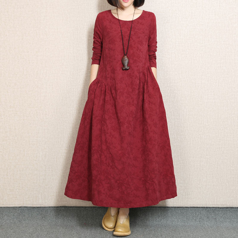 Embroidered Fold Cotton Linen Wine Red Dress