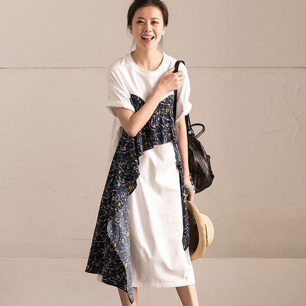 Women Sweet Splicing Floral White Dress