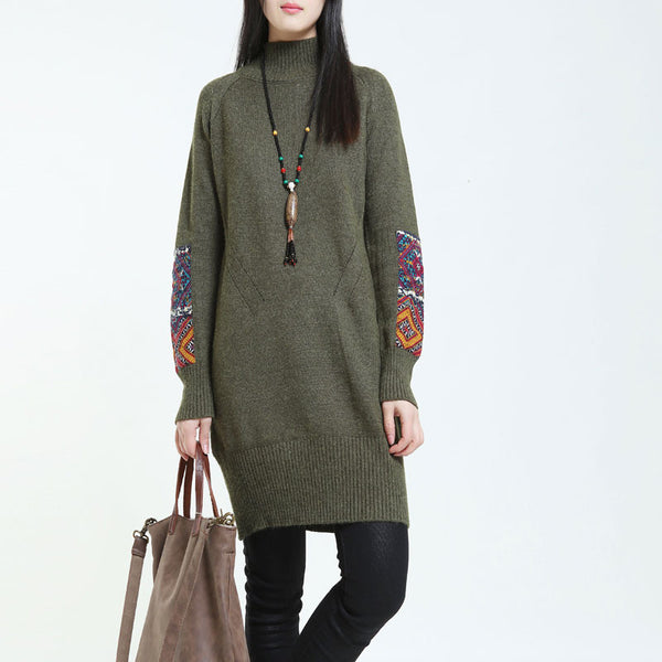 Half Turtleneck Ethnic Style Loose Green Sweater