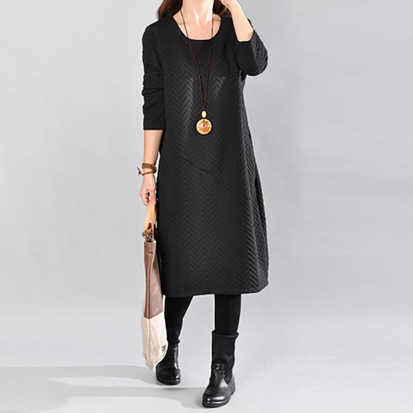 Autumn Women Round Neck Long Sleeve Dress