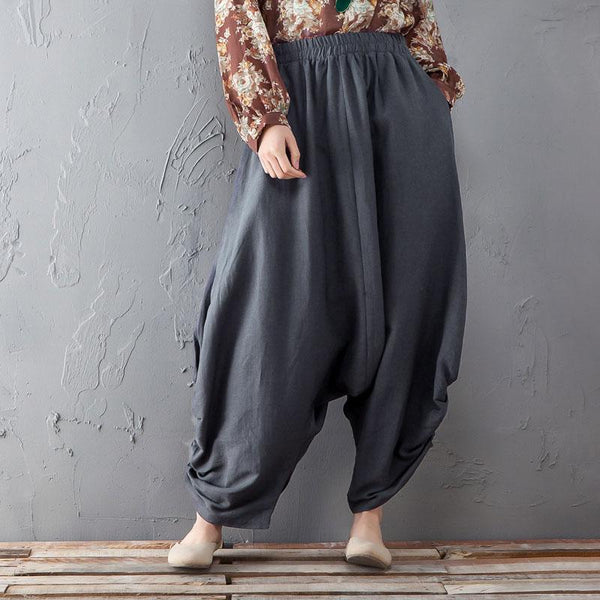 Baggy Women Elastic Waist Loose Gray Pants