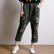 Embroidered Floral Patchwork Burr Women Jeans