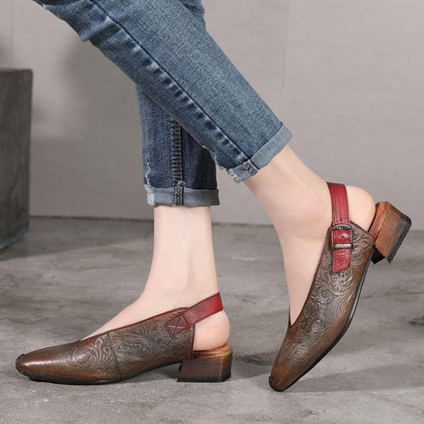 Coining Retro Women Slingback Shoes