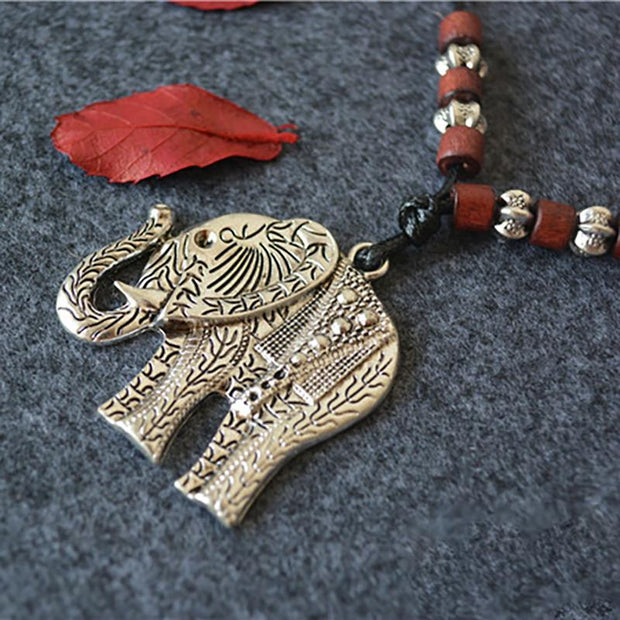 Elephant Wooden Beads Pendant Long Necklace