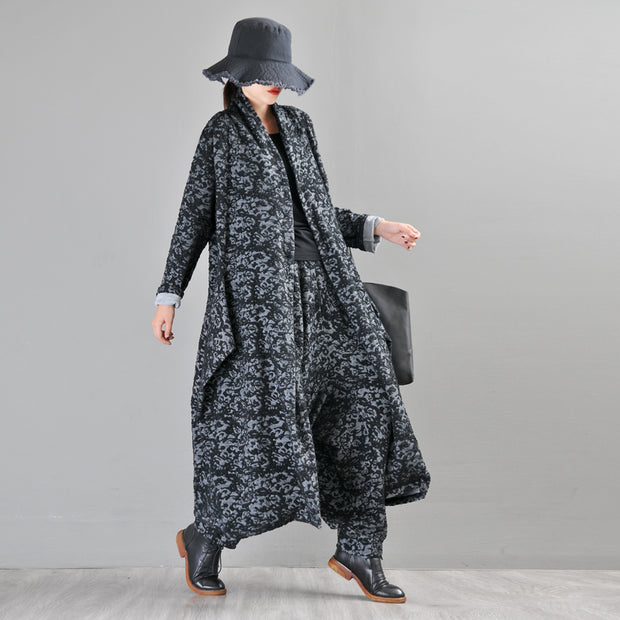 Buykud Casual Long Sleeve Irregular Jacquard Loose Jacket