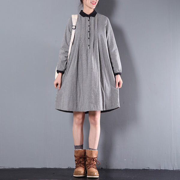 Women Casual Loose Cotton Shirt Dress
