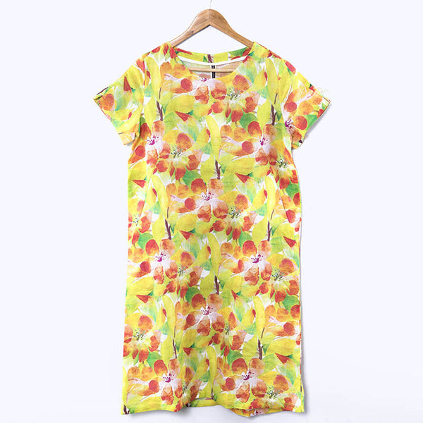 Round Neck Loose Printing Summer Women Floral Short Sleeve Dress - Buykud