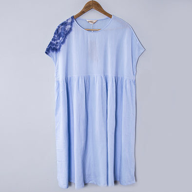 Splicing Pleated Gradient Image Short Sleeves Light Blue Women Dress - Buykud