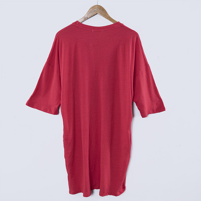 Round Neck Printing Casual Loose Red Dress - Buykud