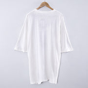 Round Neck Printing Casual Loose White Dress - Buykud