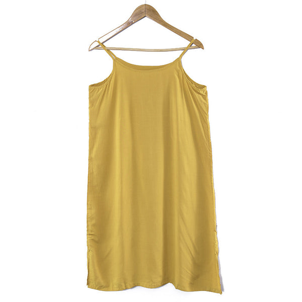 Women Simple Casual Comfortable Summer Yellow Slip Dress - Buykud