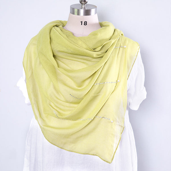 Casual Cotton Rectangle Women Yellow Scarf - Buykud