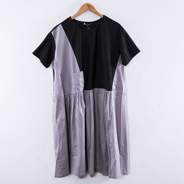 Round Neck Short Sleeves Splicing Pleated Black Women Dress - Buykud