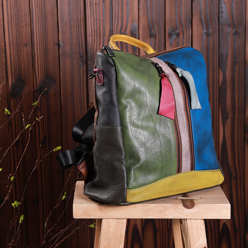 Multicolor Women Leather Zipper Backpack