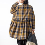 Casual Long Sleeve Yellow Plaid Women Shirt