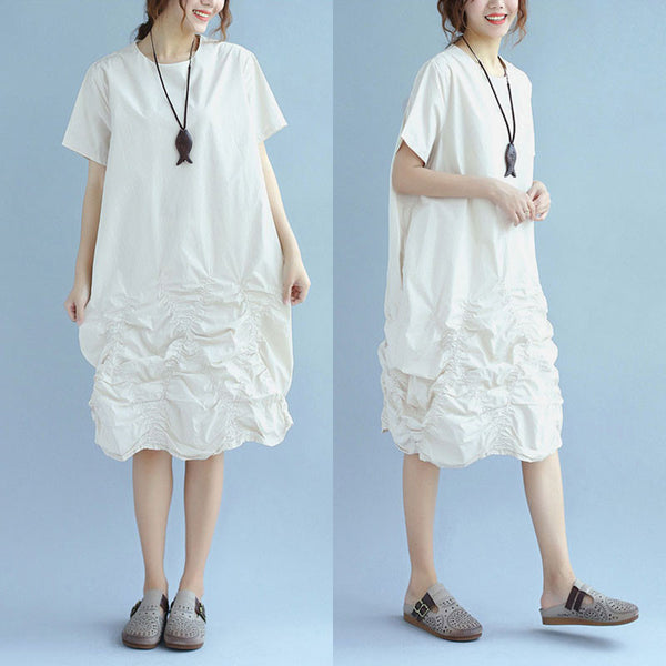 Stylish Cotton Women Loose Folded Summer Irregular Beige Dress