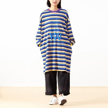 Casual Print Stripe O-neck Loose T-shirt Dress