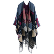 Tassel Women Winter Geometry Cloak Scarf Shawl