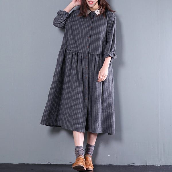 Gray Spring Women Casual Loose Cotton Long Sleeve Dress