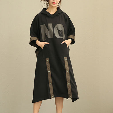 Loose Women Three Quarter Sleeve Black Hooded Windbreaker Coat - Buykud