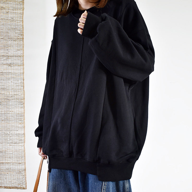 Buykud Casual Pure Color Loose Long Sleeve Shirt