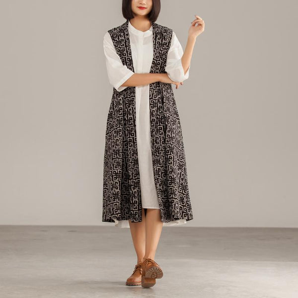 Black Cotton Geometric Cardigan Sleeveless Coat