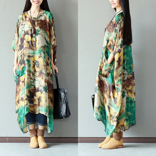 Women Casual Button Pocket Strap Silk Green Dress - Buykud