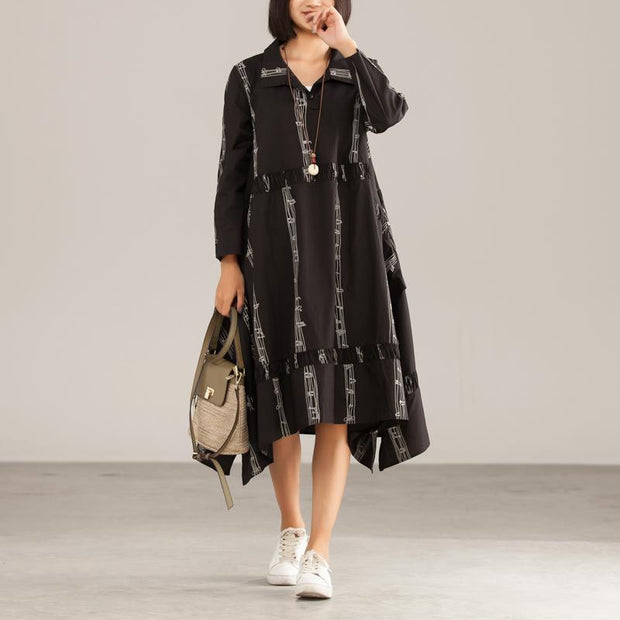 Autumn Cotton Polyeste Irregular Commuter Print Dress