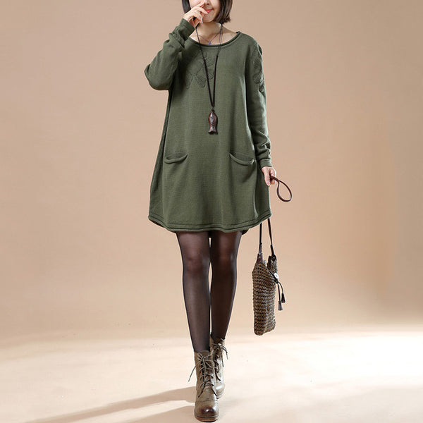 Autumn Loose Round Neck Long Sleeve Sweater Green - Buykud