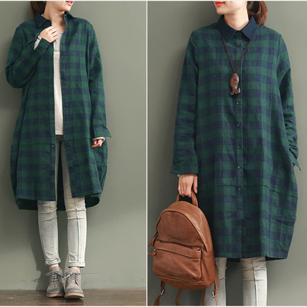 Women Casual Loose Cotton Shirt Dress Green