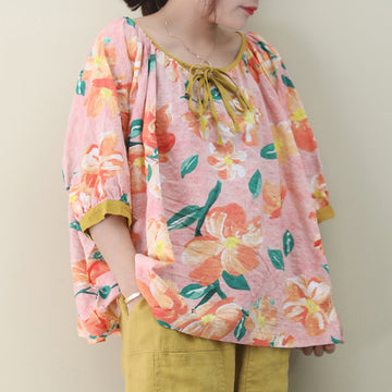 3/4 Sleeve Flower Print Ribbon Cotton Blouse