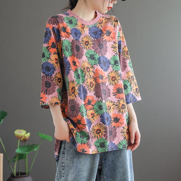 3/4 Sleeve Summer Floral Print Knitted T-shirt