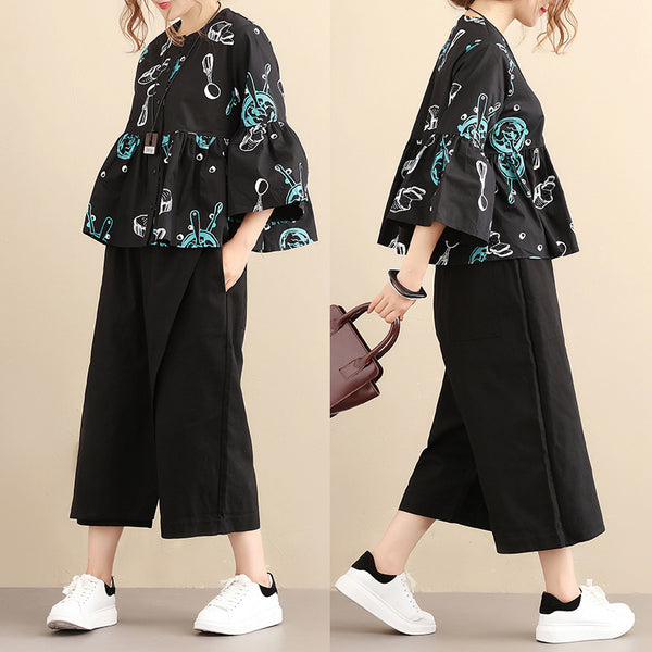 Literature Chic Printing Pagoda Sleeve Single Breasted Loose Women Black Shirt - Buykud
