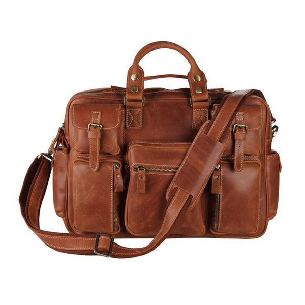 Casual  Pull-up Leather Men Brown Hand Bag