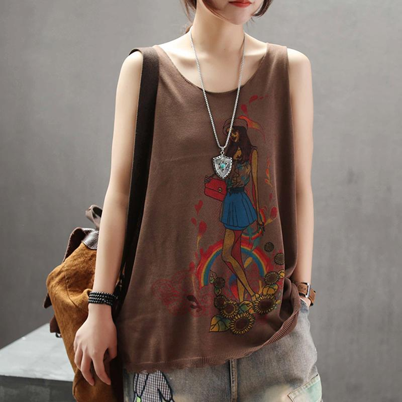 Casual Print Linen Loose Sleeveless Top