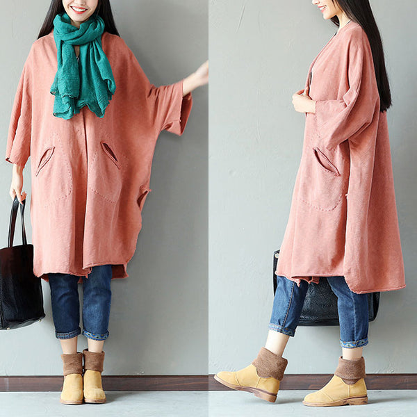 Casual Pocket Button Split Cotton Orange Coat