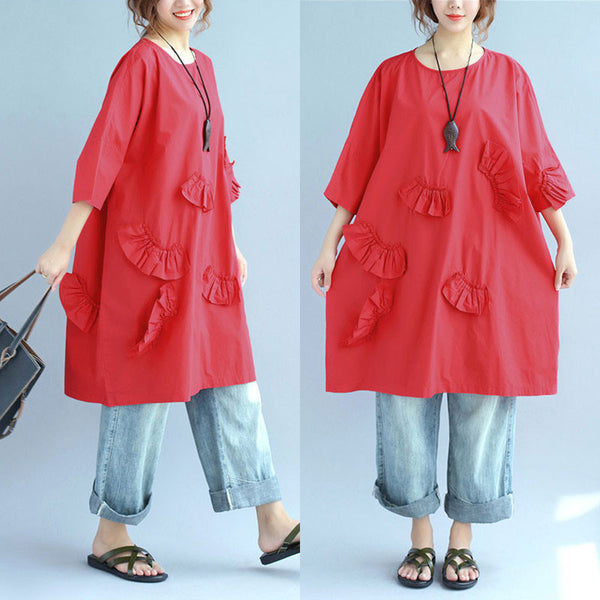 Women Casual Solid Applique Short Sleeve Red Shirt